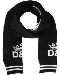 Dolce & Gabbana Cashmere Scarf With Crown Logo Inlay - Black