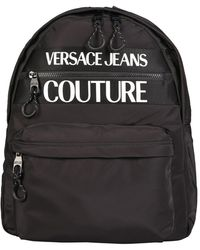 Versace Jeans Couture Nylon Backpack With Logo Print - Black