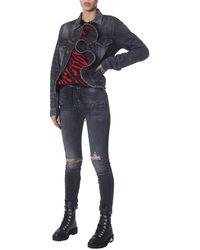 "Unravel Project ""vintage Spray"" Denim Cotton Jacket With Frill - Black"