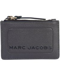 Marc Jacobs Multi Box Hammered Leather Wallet With Zip - Gray