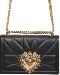 Dolce & Gabbana Women's Leather Cross-body Messenger Shoulder Bag Devotion - Black