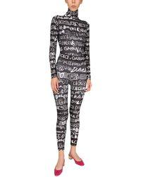 Dolce & Gabbana Long Sleeve Bodycon With All Over Logo - Black