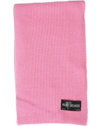 MSGM Cupid Label Ribbed Wool Blend Scarf - Pink