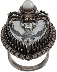 Alexander McQueen Brass Spider Ring With Crystal - Metallic