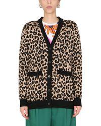 Paul Smith Leopard Jacquard Wool V-neck Cardigan - Black