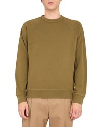 YMC Raglan Loopback Cotton Sweatshirt - Green