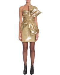 Saint Laurent - Gold Bow Laminated Mini Dress - Lyst