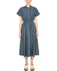 Paul Smith Silk And Cotton Blend Midi Dress - Blue