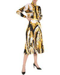 Versace Acanthus Baroque Folded Midi Skirt - Yellow