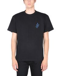 JW Anderson T-SHIRT RELAXED FIT IN COTONE CON PATCH LOGATA - Nero