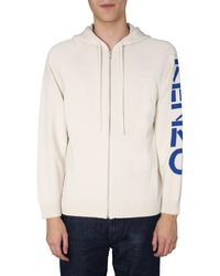KENZO Cotton Hooded Cardigan With Logo - Natural