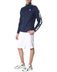 Reebok Sweatshirt With Acetate Zip With Side Bands - Blue