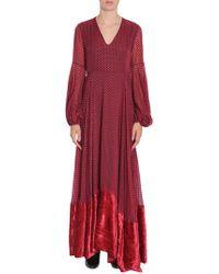 Ainea Long Polka Dot Dress With Velvet Insert - Red