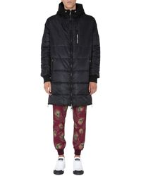 Dolce & Gabbana Quilted Nylon Down Jacket With Logo - Black