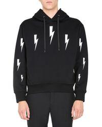 "Neil Barrett ""halo Bolts"" Printed Hooded Sweatshirt - Black"