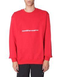 "MSGM ""do Not Stop""round Neck Cotton Sweatshirt - Red"