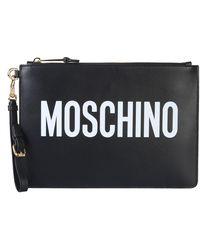 Moschino Pochette borsa a mano donna in pelle - Nero