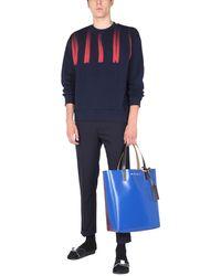Marni Crew Neck Cotton Sweatshirt With Logo - Blue