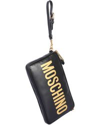 Moschino Leather Crossbody Bag With Logo - Black