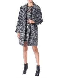 MICHAEL Michael Kors Cocoon Cutting Jacquard Coat With Leopard Print - Grey