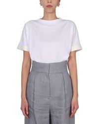Fabiana Filippi Crew Neck T-shirt With Silk Sleeves - White