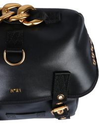 N°21 Leather Backpack With Logo - Black