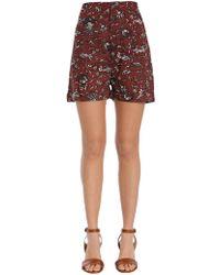 Étoile Isabel Marant - Wax Print High Waist Cotton Shorts - Lyst