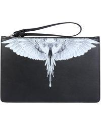 Marcelo Burlon Leather Clutch With Wings Logo - Black