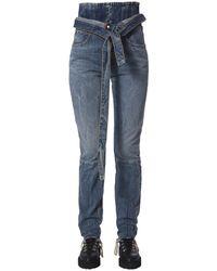 """Unravel Project """"spray Corset"""" Cotton Denim Jeans - Blue"""
