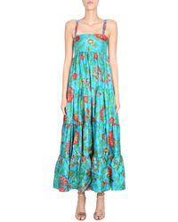 LaDoubleJ Silk Dress With Dragon Flower Print - Blue