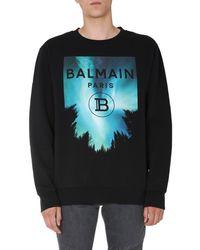 Balmain Crew Neck Cotton Printed Sweatshirt With Logo - Black
