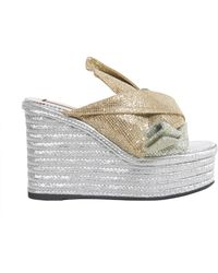 N°21 Lady Glitter Sabot With Rope Wedge - Metallic