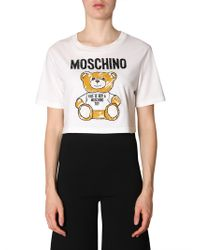4c2809e2db3ca Lyst - Moschino Teddy Bear Logo Ribbed Cotton T-shirt in White