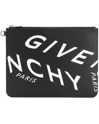 Givenchy POCHETTE IN PELLE CON LOGO CON STAMPA REFRACTED - Nero