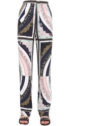 Tory Burch - Wide Silk Trousers With Constellation Print - Lyst