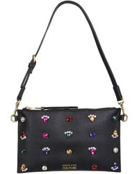 Versace Jeans Couture Faux Leather Pouch With Jewels - Black