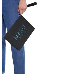 KENZO Large Nylon Pouch With Logo - Black