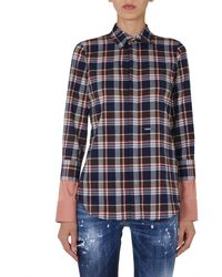 DSquared² Cotton Flannel Shirt With Double Cuff - Blue