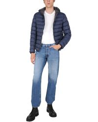 Colmar Sporty Down Hooded Jacket With Logo Patch - Blue