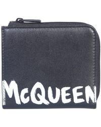 Alexander McQueen PORTAFOGLIO IN PELLE CON LOGO - Nero
