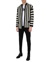 Saint Laurent Striped Wool Baja Cardigan With Crochet Hood - Black