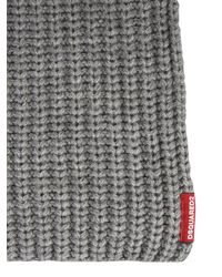 DSquared² Alpaca And Wool Scarf With Logo - Grey