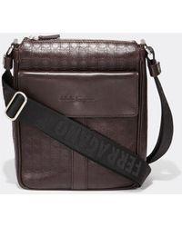 Ferragamo - 249489 Gamma Soft Nappa Leather Messenger Bag - Lyst