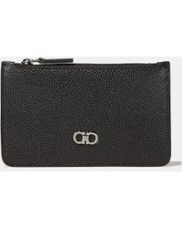 Ferragamo - Pebble Grain Calfskin Zip Card Case - Lyst
