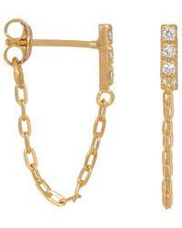 Eline Rosina Zirconia Chain Earrings - Metallic