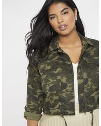 77ec93907 The North Face Green Camouflage Flyweight Hoodie Jacket - Lyst