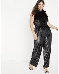Eloquii Velvet Lurex Jumpsuit - Black