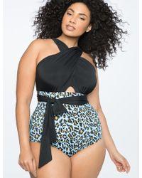 Eloquii - Cross Halter One-piece Swimsuit - Lyst