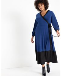 Eloquii Colorblocked Wrap Dress - Blue