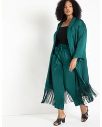 Eloquii Satin Duster With Fringe Detail - Green